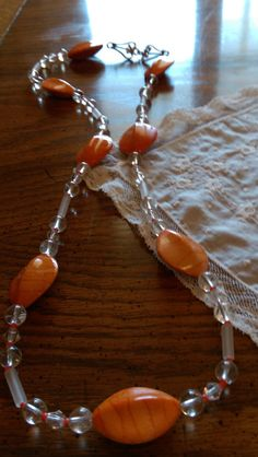 Orange and White Necklace/Orange necklace/beaded necklace handmade/beaded necklace by LouisianaBayouBeads on Etsy