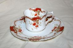 Very Early Vintage Aynsley Tea Cup & Plate, Rust Red Floral Pattern, Gilt Trim | eBay