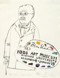 Ben Shahn  American (Kovno (now Kaunas), Lithuania 1898 - 1969 New York, NY)  Self-Portrait with Palette (Study for Fogg Art Museum Poster), 1956  Drawing  Black ink and gouache on off-white wove paper