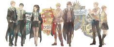(Slytherin: Moran, Moriarty & Irene) (Gryffindor: John) (Ravenclaw: Sherlock) (Hufflepuff: Lestrade & Molly)