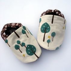 Organic Baby Shoes- Little Tree Hugger Organic Cotton Baby Booties Boy or Girl Handmade Booties 0 3 6 12 18 months- Baby Clothes Eco via Etsy