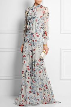 Grey floral maxi