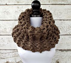 Circle Scarf Oversized Chunky Knit Cowl Scarf  by pixiebell