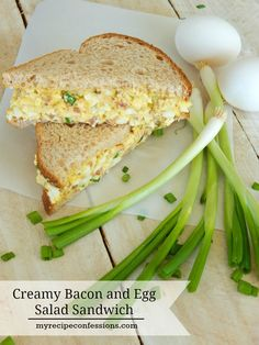 Creamy Bacon and Egg Salad Sandwich is the BEST RECIPE EVER! It is so creamy and the bacon adds a yummy smokey flavor. It's super fast and easy to make. I love to make this recipe with all the colored eggs my kids color at Easter. Egg Salad Sandwiches, Soup And Sandwich, Wrap Sandwiches, Sandwich Recipes, My Recipes, Cooking Recipes, Favorite Recipes, Salad Recipes, Bacon Egg