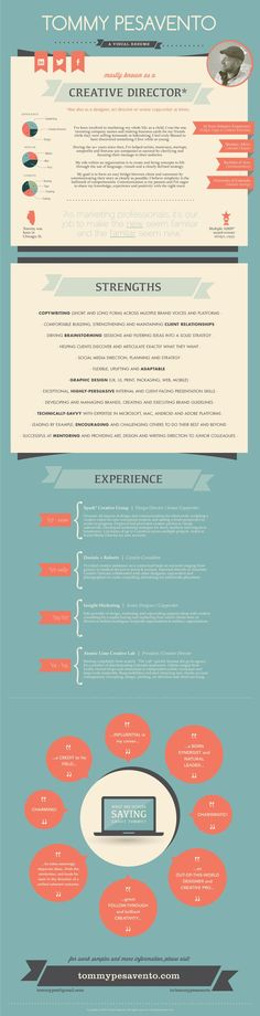 Visual resume of Tommy Pesavento – creative director, writer and designer – in the form of an infographic.