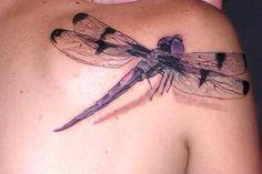 3D Dragonfly Tattoo On Left Shoulder