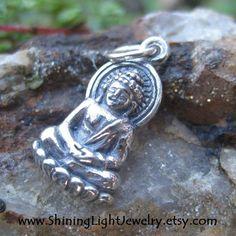 Buddha Charm  Silver Buddha Necklace Small by ShiningLightJewelry (Craft Supplies & Tools, Jewelry & Beading Supplies, Charms, buddha, yoga inspired, meditation, lotus flower, necklace charm, buddha necklace, spiritual jewelry, yoga jewelry, buddha pendant, buddha charm, silver buddha, Buddhist, custom buddha)