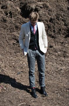 THREE PIECE BUT NOT A SUIT Linen Blazer Jacket Summer Spring Mens Fashion