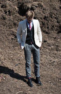 THREE PIECE BUT NOT A SUIT Linen Blazer Jacket Summer Spring Mens Fashion