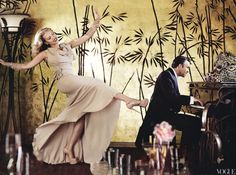 "Scarlett Johansson dances and Mark Ruffalo plays the piano in ""Back In Stride"" for US Vogue, May 2012. Photograph by Mario Testino. ""Just For Kicks. 'I'm a singing, dancing, jazz-hands kid.' Nina Ricci pale-pink silk dress. Jean Schlumberger for Tiffany & Co. diamond earrings. Sonia Rykiel glass pearl brooches. Delfina Delettrez bracelets. Christian Louboutin platform heels. Shot on location at the Cicada Club."""