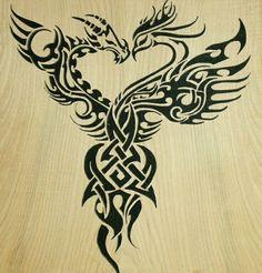 Yin and yang  celtic dragon/phoenix