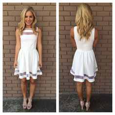 White Sheer Skater Sleevelss Dress.