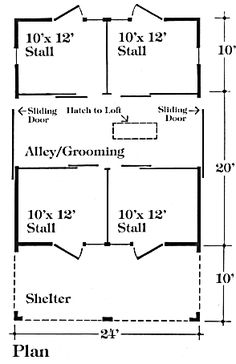 Nine Small Horse Barn Plans - Complete Pole Barn Construction Blueprints… Pole Barn Construction, Horse Shelter, Goat Shelter, Animal Shelter, Barn Layout, Horse Barn Plans, Small Barns, Dream Barn, Farm Barn