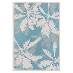 Couristan Monaco 221631 Coastal Floral Indoor / Outdoor Area Rug Ivory / Turquoise - 22163100023119U