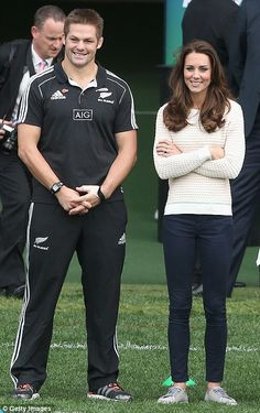 Kate wearing Jonathan Saunders Deborah sweater, Zara jeans, and Mint Velvet plimsolls to coach rugby in New Zealand on 4/13/2014