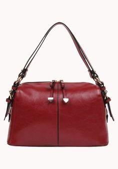 Renee Leather Shoulder Bag Purplish Red