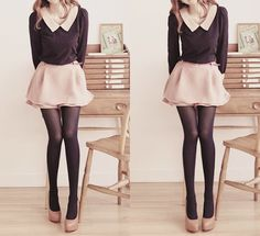 long sleeve blouse + mini skirt