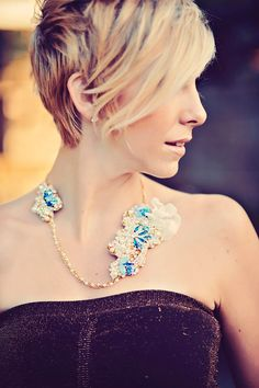 Items similar to Swarovski Statement Necklace- Swarovski Rhinestone and Pearls- Monanco Blue and Gold on Etsy Cute Haircuts, Jewelry Box, Jewellery, 10 Anniversary, Statement Necklaces, Vows, Tatting, Diamond Earrings, Short Hair Styles