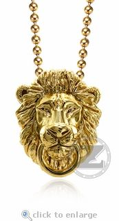Zar Lion Head Pendant by ZShock starting at $395. Lifelike and perfectly detailed, includes a 24 inch ball chain. #zshock #lionhead #pendant