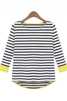 Casual Striped O Neck Three Quarter Sleeves Black Cotton T-shirt_T-shirt_Tops_Womens Clothing_Cheap Clothes,Cheap Shoes Online,Wholesale Shoes,Clothing On lovelywholesale.com - LovelyWholesale.com