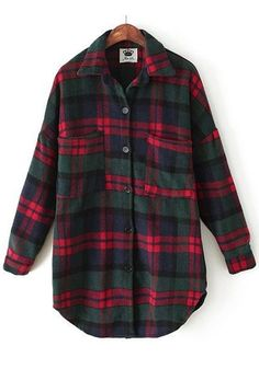 Red-Green Plaid Print Buttons Blouse