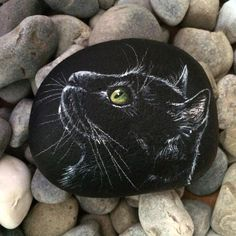 #gato #negro #black #cat #kitty #blackcat #rockart #piedra #arte #paintedrock #paintedstone #portrait #art