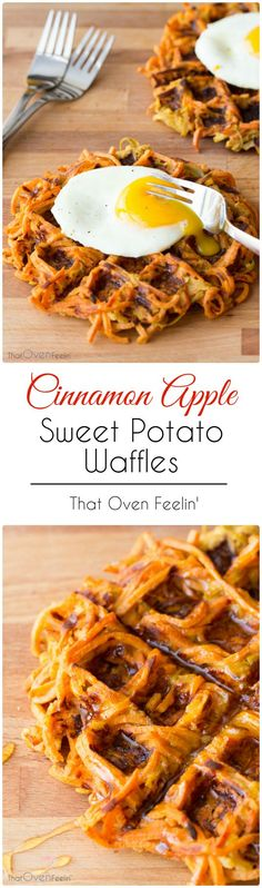 Cinnamon Apple Sweet Potato Waffles. (Taste was not bad but they didn't hold together AT ALL and the texture was like hash. Not doing again)