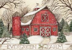 Christmas Print, Christmas Bags, Xmas, Big Red Barn, Winter Clipart, Salt Box, Christmas Pictures, Barns, Evergreen