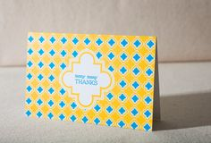 Newport offset thank you cards in yellow & bright blue