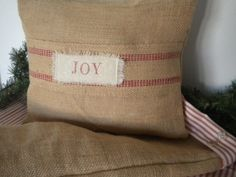 Burlap Christmas Pillow Cover