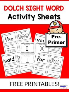 Printable sight word activity sheet for each of the traditional Dolch pre-primer words. Read, color, trace and write the word. Preschool Sight Words, Teaching Sight Words, Dolch Sight Words, Sight Word Practice, Sight Word Activities, Sight Word Book, Sight Word Bingo, Alphabet Activities, Writing Activities
