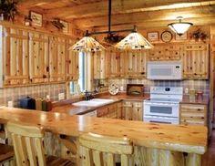 Kitchens with log cabin siding | Log Siding, Wood Paneling and Flooring - Woodhaven Log & Lumber