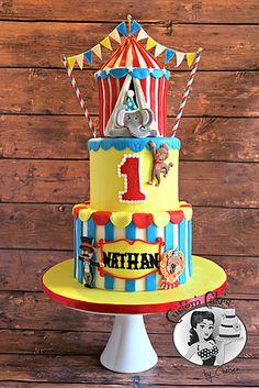 Circus cake - carnival cake - circus tent cake - fondant, buttercream - Custom Cakes by chelsea