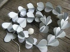 Cool Gray Paper Heart Strings by MaisyandAlice