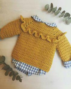 Pull Crochet, Crochet Girls, Crochet Baby Clothes, Crochet For Kids, Knit Crochet, Crochet Toddler, Crochet Pattern, Baby Sweater Patterns, Cardigan Pattern