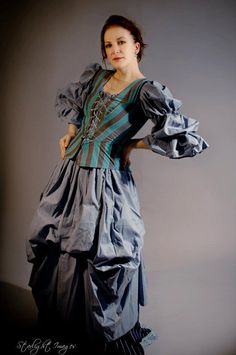 Steampunk blue damsel dress by nohumanintentions on Etsy, $350.00