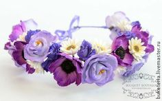 Веночек на голову - веночек,цветы из полимерной глины,венок из цветов