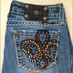 """""""M"""" by Miss Me Jeans Miss Me Jeans with cool details on pocket comfy Miss Me Jeans Flare & Wide Leg"""