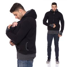 Viva la Mama | Already keeping your eyes open for Christmas gifts? You can stop searching! Our baby carrier jacket CARRYME is the ideal gift for your hubby, friend or any (soon-to-be) father. Looking good with or without the little heartwarming package <3 The casual handmade jacket (black - sweatshirt fabric) CARRY ME for baby wearing dads keeps your baby warm and close to the body. Dads can wear the jacket during the baby wearing period and after for everyday use.