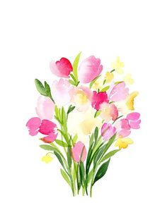 Handmade Watercolor- Spring Tulips Bouquet- 8x10 Wall Art Watercolor Illustration Print: