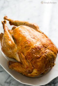 My mother's tried and true roast turkey recipe. How to cook a turkey for Thanksgiving. Best way? Roast it Breast-side Down! ~ SimplyRecipes.com