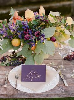 Purple place cards with gold calligraphy | Photo by Rebecca Lindon