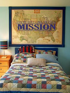 I LOVE THIS IDEA! Boys room:I hope they call me on a mission (would use map of world instead) positive reinforcement!!! You could even mark where their dad and all of their uncles went.