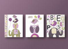 Nursery art print baby nursery kids art kids room decor nursery wall art elephant owl bird alphabet balloon Set of 3 prints