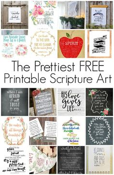 These free printable scripture art pieces will help you decorate with bible verses quick and easy, they also make the perfect affordable & thoughtful gift! Free Printable Art, Printable Bible Verses, Card Making Ideas Free Printables, Prayer Journal Printable, Printable Letters, Printable Stickers, Wall Stickers, Vinyl Decals, Scripture Wall Art