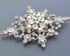 Etsy: Victorian Pearl & Crystal Brooch
