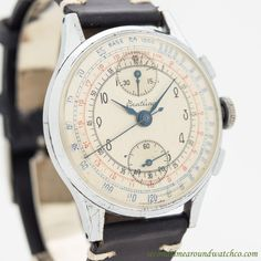 1946 Vintage Breitling 2-Register Chronograph Chrome & Stainless Steel Watch