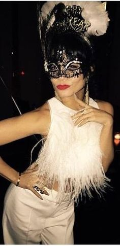 White hot: Vanessa Hudgens rocked a flirty crop top to a New Year's Eve bash Masquerade Party Outfit, Masquerade Costumes, Masquerade Ball, Masquerade Wedding, Halloween Costumes, White Crop Top Outfit, Crop Top Outfits, Hollywood Fashion, Maskerade Outfit