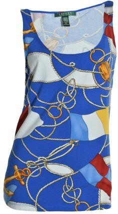 97152adcd7efbb Lauren Ralph Lauren Nautical Print Sleeveless Tank Top Medium Shirt Stretch  NEW  RalphLauren  TankCami