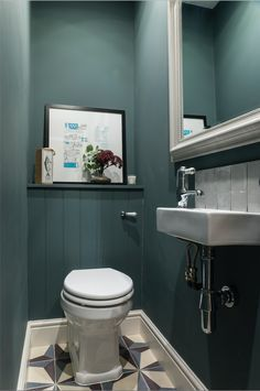 Design & styling by Imperfect Interiors at this lovely house in Tongue & Groove panelling, Fired Earth tiles & Farrow & Ball Inchyra Blue in the downstairs loo.uk Photos by Chris Snook Space Saving Toilet, Small Toilet Room, Guest Toilet, Clockroom Toilet, Cloakroom Toilet Downstairs Loo, Small Wc Ideas Downstairs Loo, Farrow And Ball Inchyra Blue, Understairs Toilet, Best Kitchen Design
